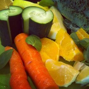 Carrot, apple, kale, spinach, orange, cucumber, lemon