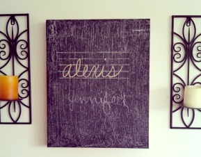 Finished chalkboard hanging on the wall