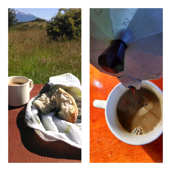 Fresh solar baked bread and some coffee