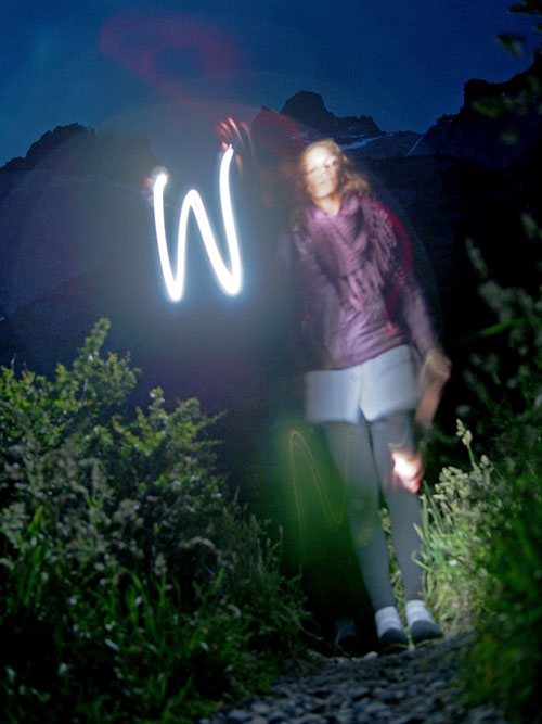 W at night
