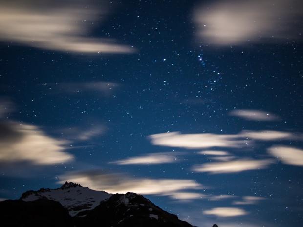 Night sky star shot over Fitz Roy