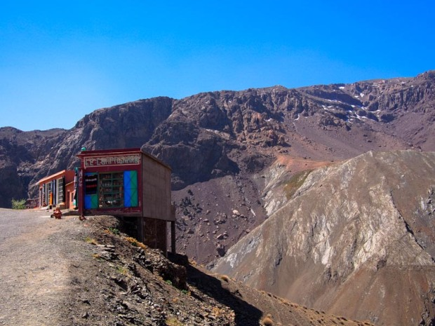Shop hovering over the rocky edge of Atlas Mountain road