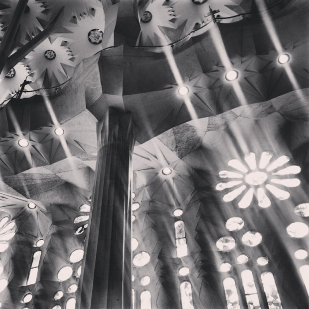 Sagrada Familia in black and white