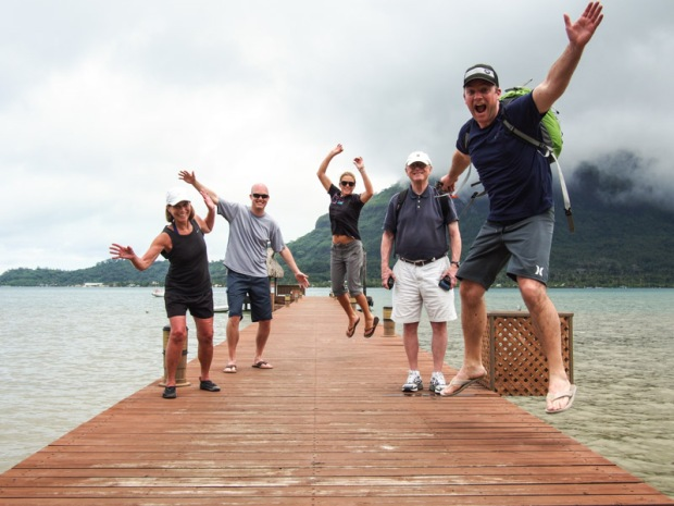 Oltman family jumping in Bora Bora