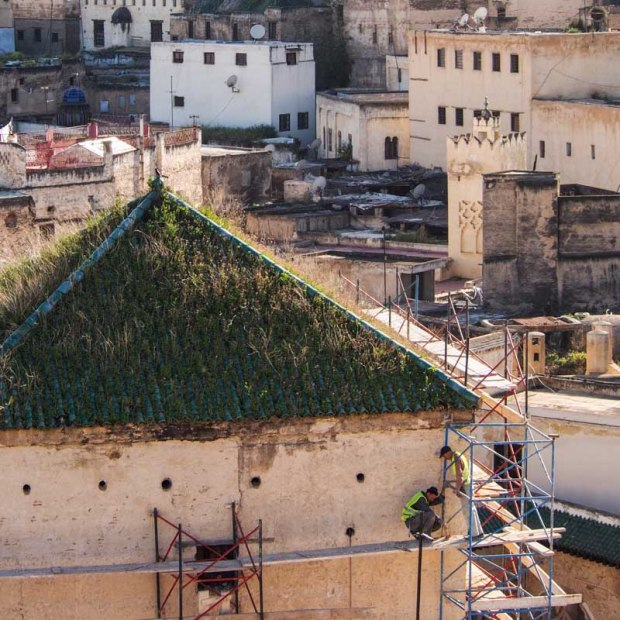 Morocco construction on roofs