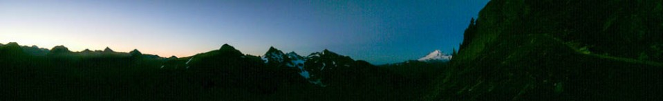 Panorama of Mount Baker sunrise
