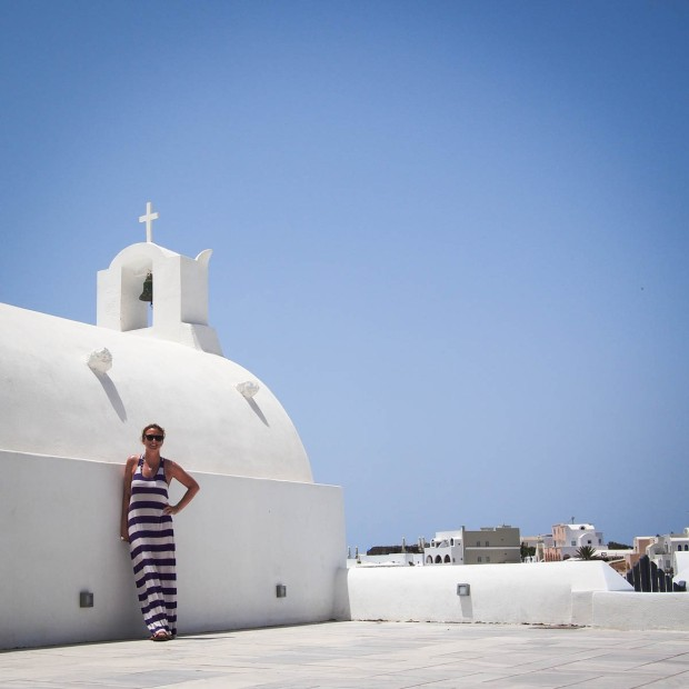 Self-portrait in Oia