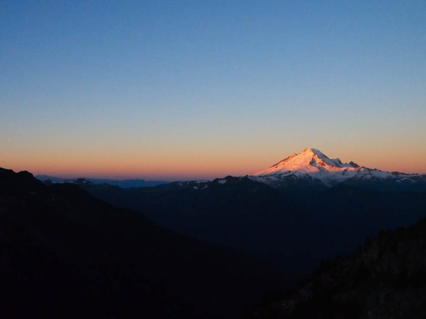 Mt. Baker beautiful in pink during sunrise