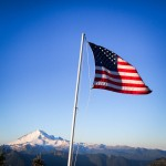 Flag on top of Winchester Mountain