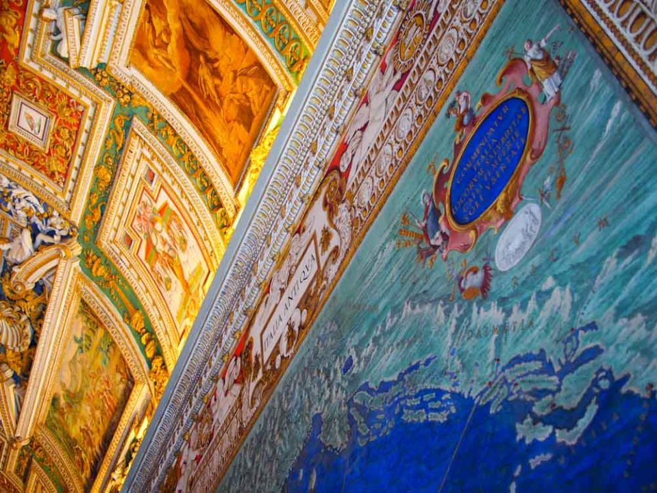 Colorful maps on the walls of the Vatican