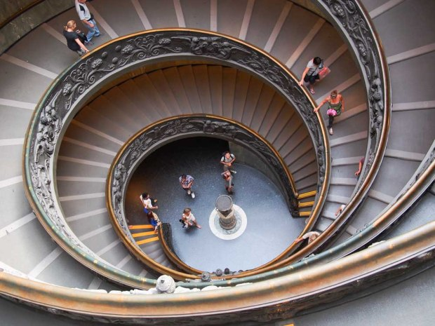 Looking down on the spiral steps of the Vatican