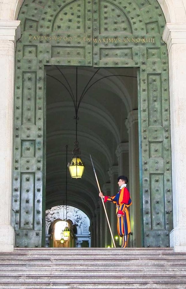 The red suit guards of the Vatican.